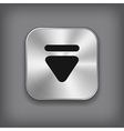 Down arrow icon - metal app button vector image vector image