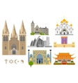 Famous Cathedrals flat icons vector image
