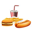 fast food set on white background vector image