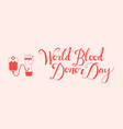 flat hand blood donation transfusion bag vector image