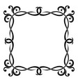 floral decorative square frame black bold vector image