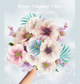 flowers bouquet valentine day or wedding card vector image vector image