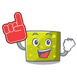 foam finger square mascot cartoon style vector image