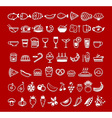 food icons red vector image vector image