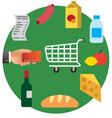 food shopping in supermarket vector image