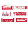 fragile this way up handle with care grungy vector image vector image