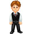 funny boy in suit clothes cartoon vector image vector image