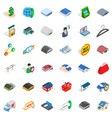 gas station icons set isometric style vector image vector image