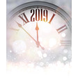 grey blurred 2019 new year background with clock vector image vector image