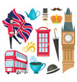 hand drawn doodle united kingdom set vector image