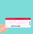 hand holding boarding pass ticket airline vector image