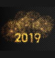 happy new year 2019 gold sparkle firework golden vector image