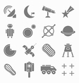 Icons space in flat style gray on white Set 2 vector image