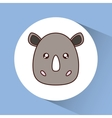 Kawaii rhino icon Cute animal graphic vector image vector image