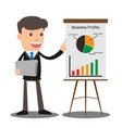 manager in formal suit gives a presentation and vector image vector image