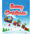 Merry Christmas card with Santa on train vector image