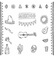 Mexican hand drawn icons set vector image vector image