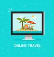 online travel via computer vector image vector image