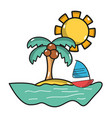 palm with sailing boat around of island vector image vector image