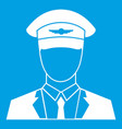 pilot icon white vector image vector image