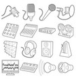 recording studio symbols icons set outline style vector image vector image