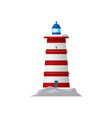 red lighthouse beacon tower marine building icon vector image vector image