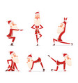 santa yoga poses christmas winter holiday sport vector image vector image