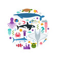 sea life concept card vector image