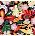 seamless backgroundtropical flowers and leafs vector image vector image