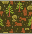 seamless pattern with brown bears in forest vector image