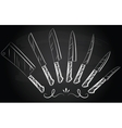 Set of steel kitchen knives vector image vector image