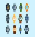 stylish wristwatch set modern watches fashionable vector image vector image