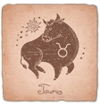 Taurus zodiac sign horoscope vintage card vector image vector image