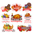 thanksgiving day greeting sketch icons vector image