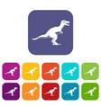 theropod dinosaur icons set flat vector image vector image