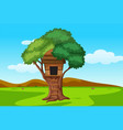 three house in nature landscape vector image vector image