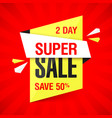 two day super sale banner vector image vector image