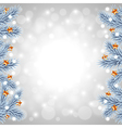 White Christmas tree branches on snowy background vector image vector image