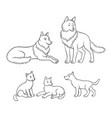 wolves family - parents and three cubs vector image vector image