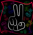 The gesture of the hand with outstretched with two vector image