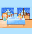 two girl getting in bed vector image