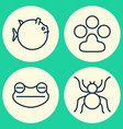 animal icons set collection of toad spider vector image