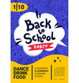 back to school party poster back to school text vector image vector image