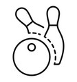 bowling ball two pins icon outline style vector image vector image