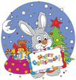 Bunny with Christmas card vector image