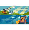 camping hiking and trekking horizontal banners vector image