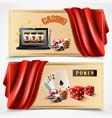 casino realistic banner set vector image vector image