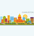 charleston skyline with color buildings and blue vector image vector image