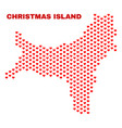 christmas island map - mosaic of lovely hearts vector image vector image