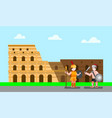 coloseum rome italy with gladiator in flat illust vector image vector image